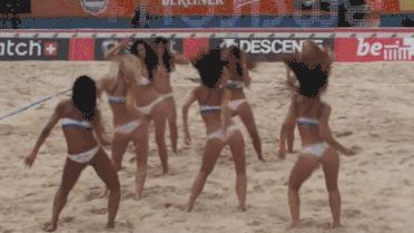 GIFs Beach Volleyball. Animated Images of Girls in Bikini Playing Volleyball